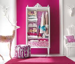 girl bedroom furniture with pink color and deer doll collection with pouffe  and pink carpet -