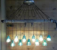 wooden chandelier solar powered vintage wood horse wagon yoke telegraph glass insulator light