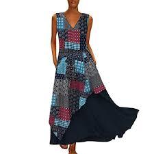 WILLBE Women <b>Vintage</b> Splicing Casual Dress Long Sleeve Maxi ...