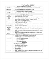 Sample Business Plan Outline 21 Examples In Word Pdf
