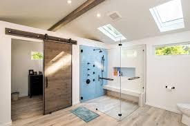 Light Blue Barn Door Modern Bathroom Lovely Detailed With Light Blue Glass Tiles