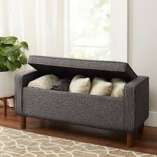 better homes gardens flynn mid century modern upholstered storage bench multiple colors com