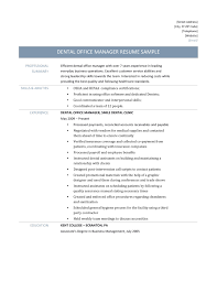 Dental Office Manager Resume 6 Officer Template And Job Description