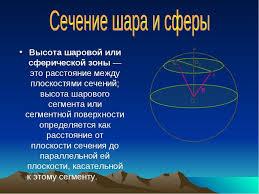 Презентация по геометрии на тему Шар и сфера  Высота шаровой или сферической зоны это расстояние между плоскостями сечени