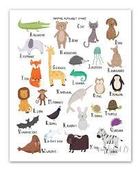 Animal Alphabet Chart A Z Art Print Illustration Typography Animals Nursery Art