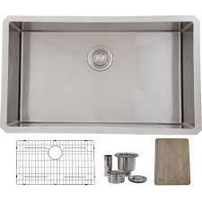 30 inch undermount single bowl 16 gauge stainless steel kitchen sink luxury basket strainer