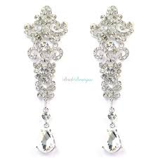 stunning vintage style crystal chandelier long drop bridal wedding earrings