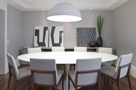 Entrancing Modern Minimalist Dining Room With Round Table Set Half Hanging  Lamp In Above Decor Inspirations ...