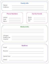 Babysitter Information Sheets Babysitter Info Sheet Allergies For Sps Dairy Organize My