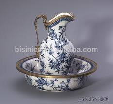 Decorative Water Pitcher Ornamental Porcelain Bronze Water Jug Match With Serving Bowl 39