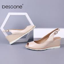 hot deal us 51 41 for bescone women sandals wedges pleated patent leather apricot p toe female summer shoes handmade career dress lady sandals bs1