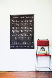 Alphabet Poster Wall Decor Fabric Black Chalkboard Alphabet
