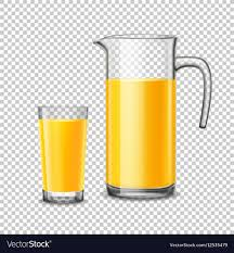 glass and pitcher with orange juice on transpa vector image
