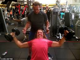 just like dad arnold schwarzenegger coached his look alike son joseph baena at gold s