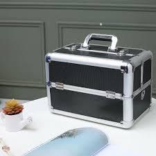 makeup train case professional 14 4 x 8 7 x 9 8 large make up artist organizer kit shoulder bag with adjule dividers key lock cosmetic studio box