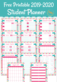 Daily Planner Template 2020 Free Printable Student Planner For 2019 2020 School Year