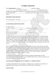 Sample Apartment Lease Agreement Sample CoSigner Agreement Form Template Rental Forms Pinterest 10