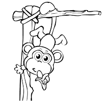 Cute Monkey Coloring Pages Hanging With Banana Coloringstar