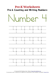 Writing Number 4 Worksheet | Pre K Worksheets Org