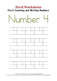 Writing Number 4 Worksheet | Pre K Worksheets Org