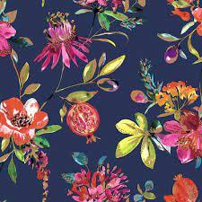 Floral wallpaper, Navy wallpaper ...