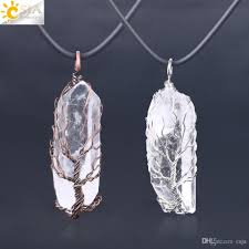 whole csja natural white clear crystal pillar big pendants antique copper wire wrapped tree of life quartz pendant leather chain necklace f554 whole