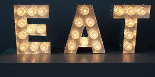 metal letter signs with lights | ... light up stars vintage letters large  single