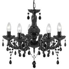 marie therese black 5 light chandelier with acrylic glass drops lighting