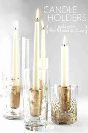 DIY Gold Candle Holders - made from shot glasses, gold metallic Sharpie,  gold leaf