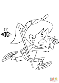 Small Picture Girl Running from a Bee coloring page Free Printable Coloring Pages