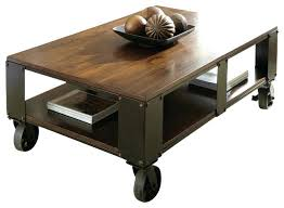 industrial wood coffee table with wheels tables ideas top casters throughout design l13