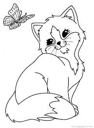 Cats And Kitten Coloring Pages 34 Kids Butterfly Coloring Page