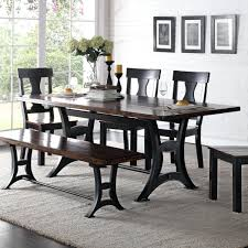 industrial dining room table crown mark industrial dining table with trestle base and rustic top industrial industrial dining room