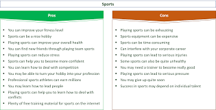 22 major pros cons of playing sports