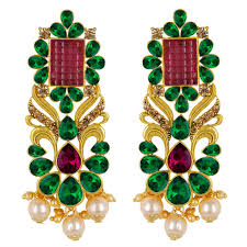 spargz gold plated antique indian style bridal green purple ad stone chandelier earrings