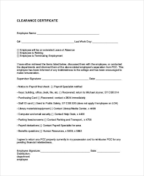 Clearance Certificate Sample Free 16 Employee Clearance Form Sample