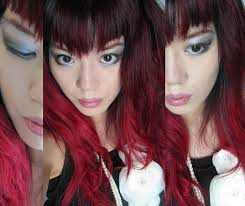red d hair alternative makeup black white smoky eyes asian goths