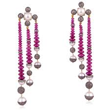 image is loading 23 2ct beaded pearl ruby 18kt gold sterling