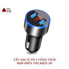 Tẩu sạc xe hơi 2 cổng USB tích hợp đèn báo điện áp | Cốc sạc ô tô chia cổng  USB