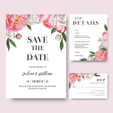 Pink Peony Flowers Watercolor Bouquets Invitation Card Save