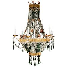 unique italian louis xvi style amber glass crystal and green glass chandelier for