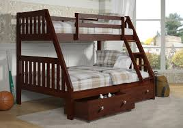 solid wood espresso twin over full bunk bed with storage