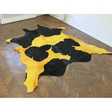 cowhide rug yellow