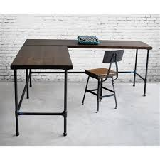industrial style l shaped wood desk for your office or living space made with old shaped wood desks home