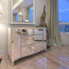 mirror effect furniture. Stunning Mirror Furniture In French Shabby Chic Style With Crystal Effect Handles Silver Finish. O