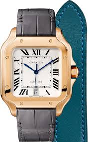 santos de cartier watch large model automatic pink gold 2 interchangeable leather bracelets