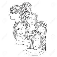 Patroon Portretten Van De Meisjes In De Grafische Doodle Stijl