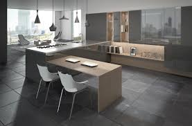 Slate Flooring Kitchen Ultra Modern Home Kitchen With Simple Breakfast Bar And Gray Slate