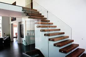 Splendid Clear Glass Banister With Wooden Step Modern Staircase As Well As  White Wall Painted Also Dark Wooden Floor Tile In Contemporary Interior  Decors ...