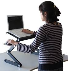 com ergonomic laptop standing desk w mouse pad 2 fans 3 usb ports adjule height angle sit to stand up table conversion
